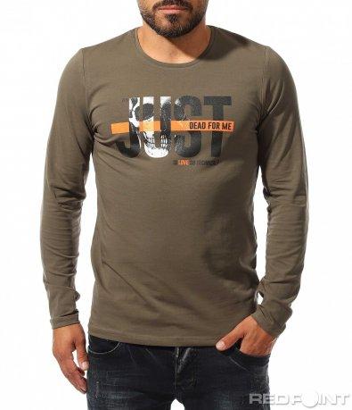 Памучна блуза с надпис 10317