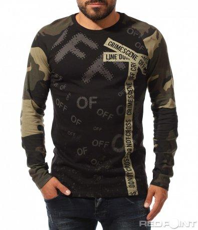 Памучна блуза с Military акцент 10318