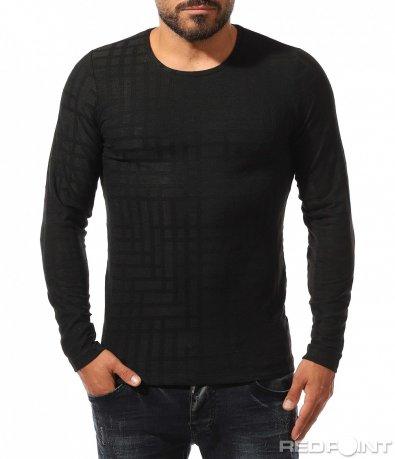 Черна тениска с дълъг ръкав 10319