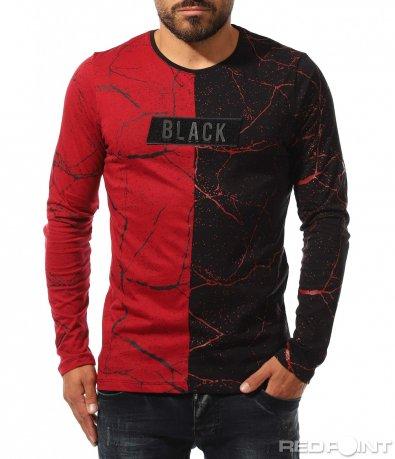Двуцветна блуза с релеф 10320