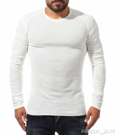Втален пуловер с наребрен дизайн 10321
