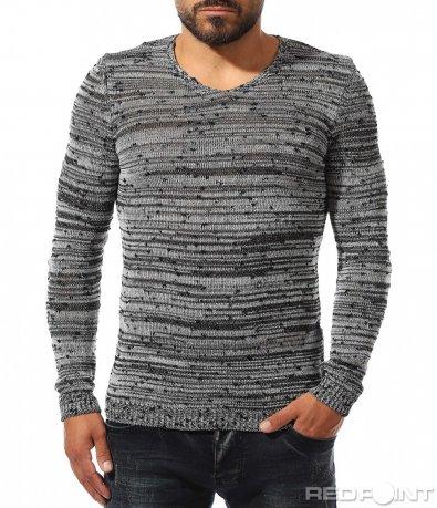 Slim fit пуловер с меланжиран десен 10324