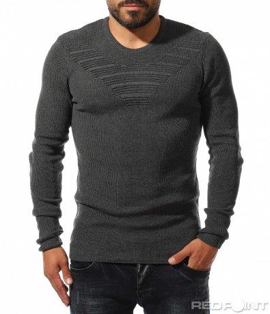 Тъмен втален пуловер с мотив 10325