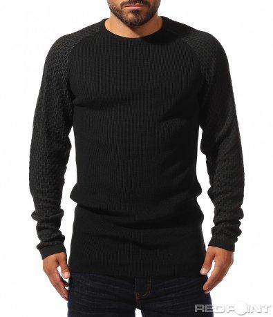 Черен топъл пуловер 10312