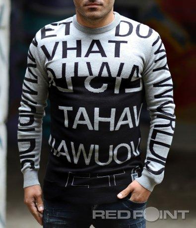 Стилен пуловер с надписи 10336