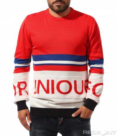 Цветен пуловер с надпис 10337