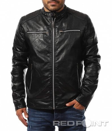 Черно яке със сиви ципове 10364