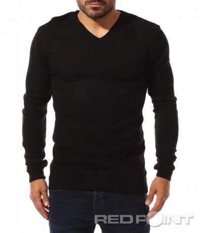 Класически пуловер в едноцветен десен 10436