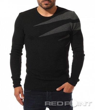 Акцентиран пуловер от плетиво 10440