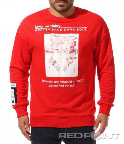 Червена блуза с щампи 10449