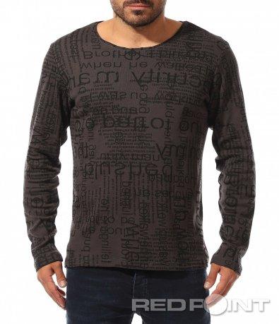 Тъмно сива блуза с надписи 10452