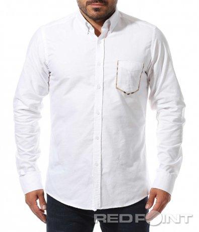 Бяла риза с декоративен джоб 10462
