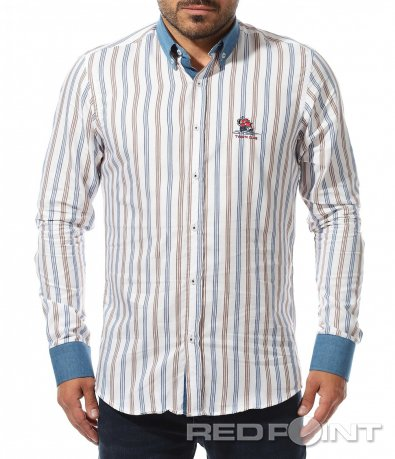 Бяла риза с декоративен принт 10460