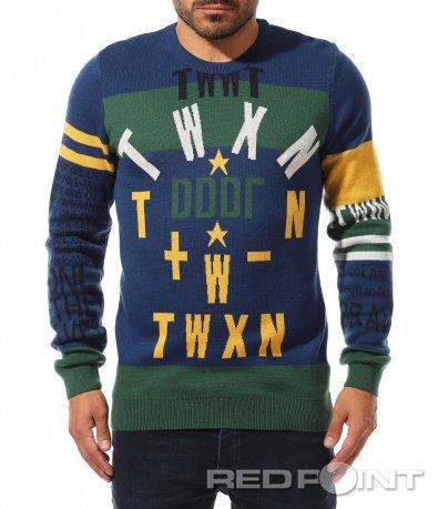 Цветен пуловер с надписи 10481