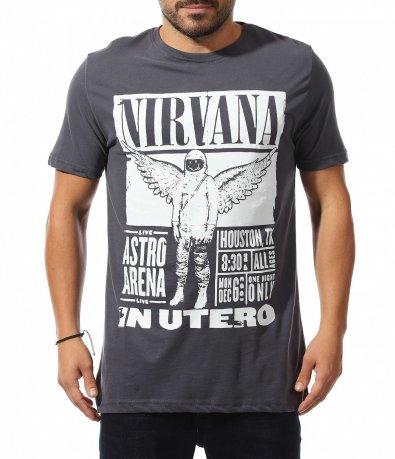 Тъмно сива тениска с надписи 10611