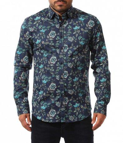 Цветна риза с флорален акцент 10554