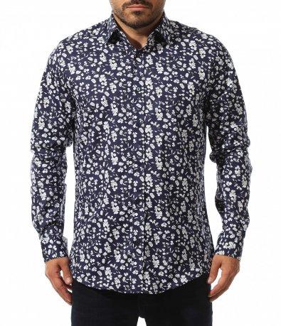 Авангардна тъмно синя риза 10557