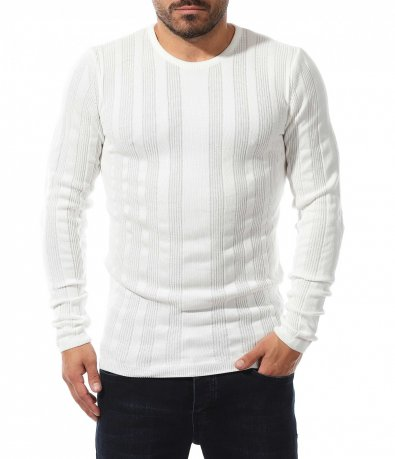 Еластичен пуловер с декоративни линии 10561