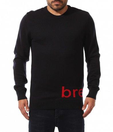 Ефектен семпъл пуловер с надпис 10567