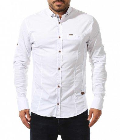 Едноцветна риза с лого 10575