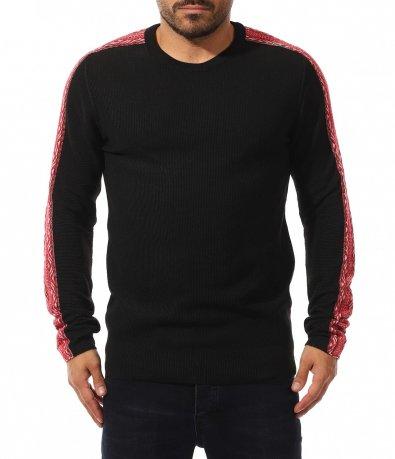 Едноцветен пуловер с цветен елемент 10585