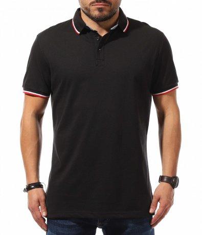 Едноцветна тениска с Lacoste яка 10641