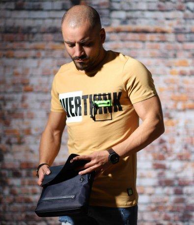 Жълта тениска с релефен акцент 10692