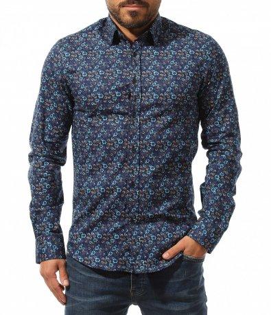 Тъмна риза с кръгли мотиви 10739