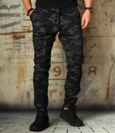 Тъмен камуфлажен карго панталон с връзки 10753