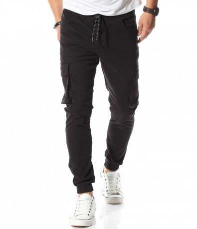 Тъмен карго панталон с връзки 10755