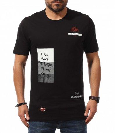 Издължен модел тениска с апликации 10770