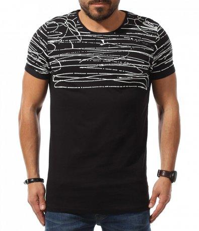 Черен t-shirt с ефектна декорация 10781