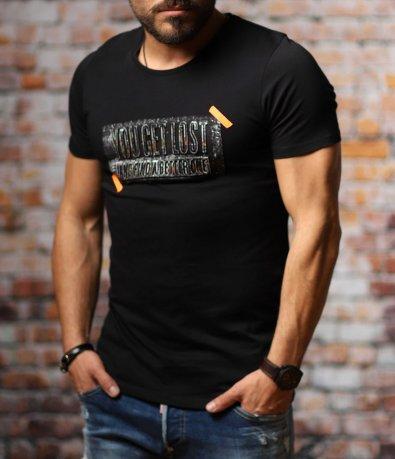 Черен t-shirt с жълт акцент 10782