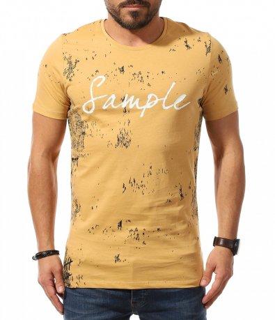 Свежа тениска в цвят горчица 10784