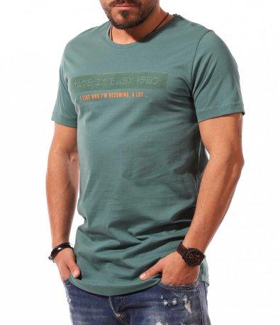 Тениска с щампа от йероглифи 10786