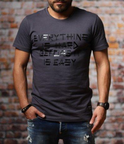 Сива тениска с надпис 10787