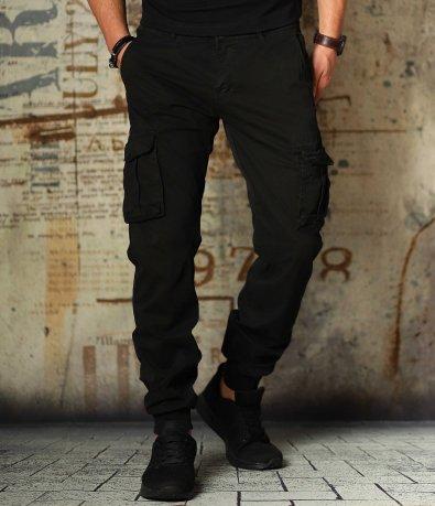 Черен спортен карго панталон 10818