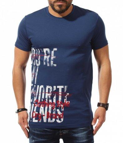 Син t-shirt със страничен надпис 10896