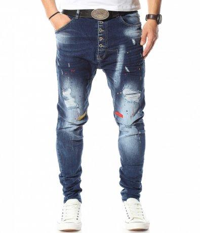 Сини дънки с вталена кройка 10912