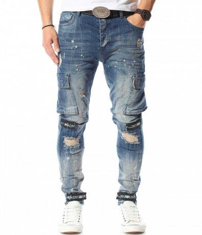 Сини дънки със странични джобове 10915