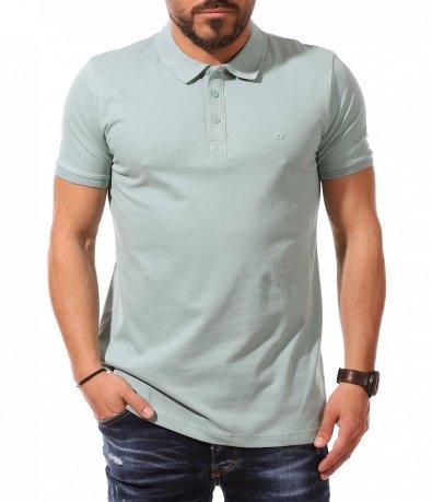 Едноцветна тениска с яка 10934
