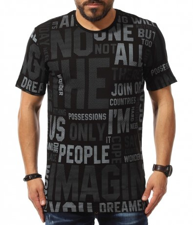 Свежа тениска с надписи 10936