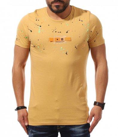 Ефектна тениска с напръскан мотив 10974
