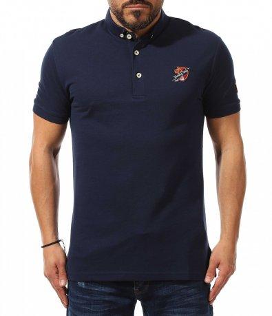 Тъмно синя тениска с яка 10983