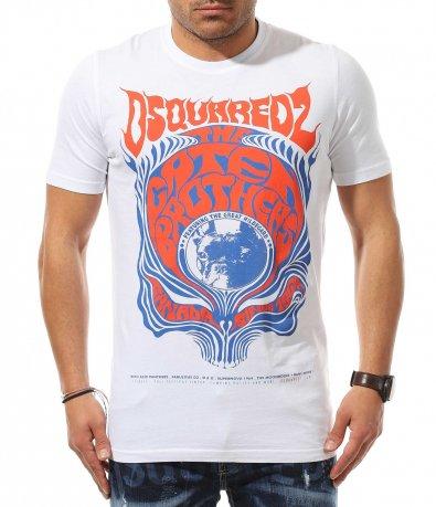 Тениска с червен принт DSQUARED 10991
