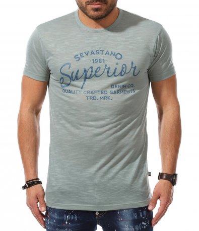 Всекидневна тениска в цвят тюркоаз 11018