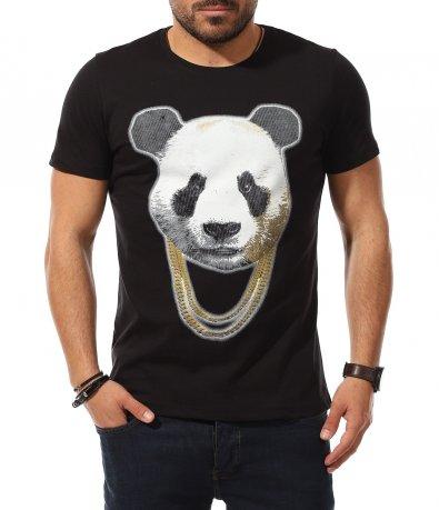 Тишърт с апликация с панда 11025