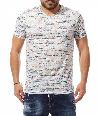 Тениска със ситни надписи 11051