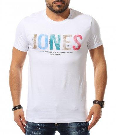 Тениска със цветен надпис 11075