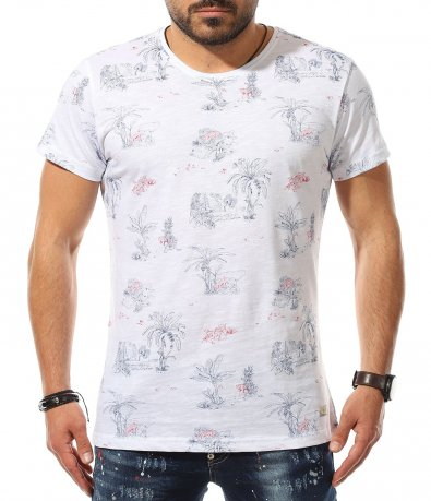 Бяла тениска с щампи 11078